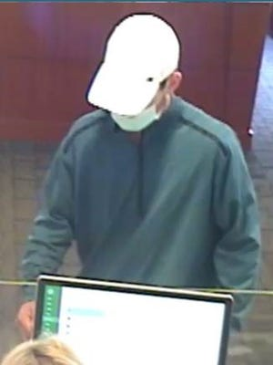 Police say this man, shown in an image from security camera video, robbed a Rockland Trust branch in Braintree on Monday, Aug. 30, 2021.