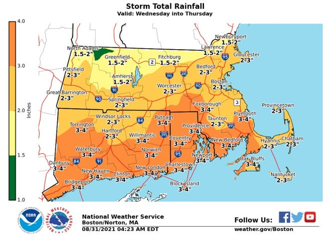 The National Weather Service says Rhode Island is likely to get 3 to 4 inches of rain from the remnants of Hurricane Ida.