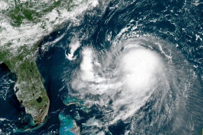 A satellite image shows Tropical Storm Henri in the Atlantic Ocean late last month.