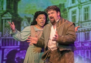 """Laura Means and Martin Lehman perform a scene from the Stockton Civic Theatre production of """"Something Rotten."""""""