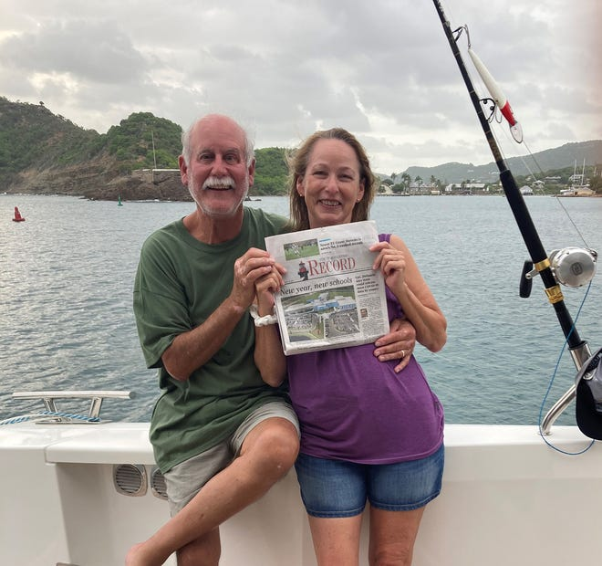 Charlie and Kim Brown took The Record along to Falmouth Harbour, Antigua, West Indies, aboard the Ella Lee (Tradewinds 70 ft Flagship) during a sail around the island.