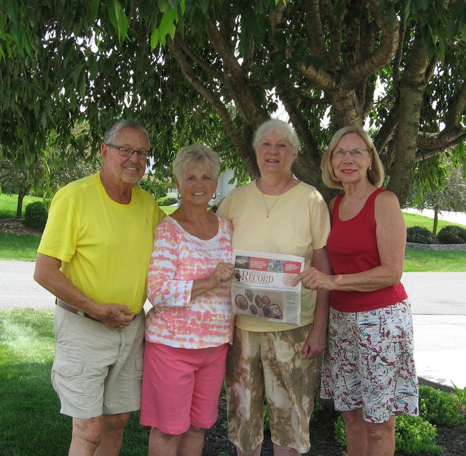 Margaret Nicholson (far right) of St. Augustine took The Record along to Harrisburg, Pennsylvania, to visit her aunt Susan Martin. During a day trip to Gettysburg, they had lunch at the home of Mary Ann and Neil Ober (couple on left).