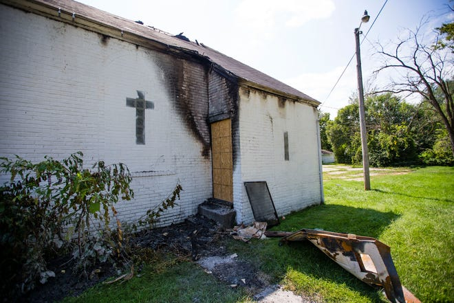 Fire damage on the exterior of the building Tuesday at the Greater New Jerusalem Missionary Baptist Church on Johnson Street in South Bend.