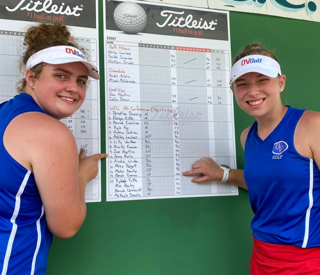 Junior Jenna Harris and senior Norah Beeman flash celebratory smiles after finding out they earned all conference honors Saturday at the Western Indiana Conference meet. Harris finished 10th with a 94 and Beeman was 14th with a 100. More from the WIC match is in today's Spencer Evening World.