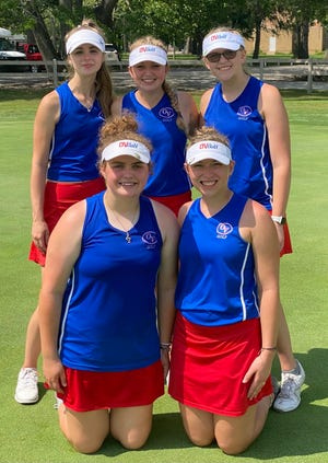 The Owen Valley Lady Patriot girls' golf team finished sixth at the recent WIC match. Team members include, front row, from left: Jenna Harris and Norah Beeman. Back row: Liv Stogsdill, Lola James and Maria Hartman.