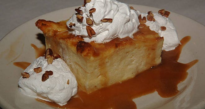 This bread pudding is a favorite at Village Cafe in Fayetteville, Georgia.