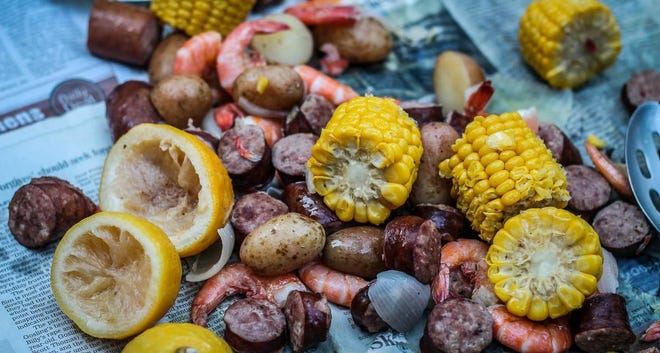 Spread out the newspaper and have yourself a classic Lowcountry boil experience.