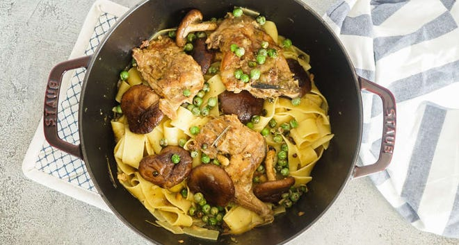 Braised Rabbit Pappardelle Pasta with Blistered English Peas and Cremini Mushrooms.