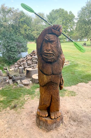 Sam Dougherty, a chainsaw artist, recently completed a Bigfoot carving at Fawn River Kayak Guide and Rental. Owner Jeff Pant said the livery has adopted a Bigfoot character as its mascot.