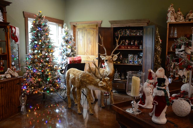 The Christmas Shoppe features a wide variety of holiday decorations and Christmas-themed items for sale and on display.