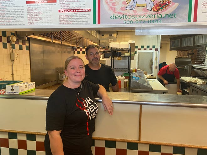 Devito's owners Dawn and Michael Cashman have been providing freshly made pizza at 4 Taunton Green for 12 years, seen here on Aug. 27, 2021.