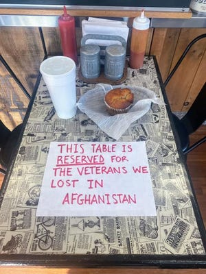 The Valley Bean on North Main Street in Uxbridge set aside a table, drink and muffin to remember those lost in Afghanistan.