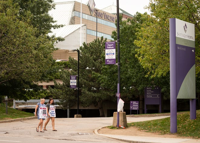 As the St. Vincent Hospital nurses strike became the longest nurses strike in state history on Tuesday, just a few supporters could be seen outside the hospital at midday.