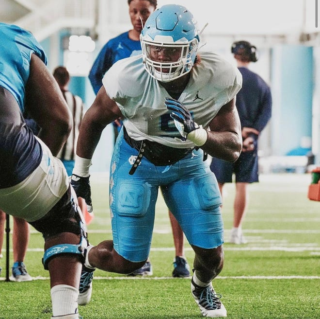Defensive lineman Jahvaree Ritzie (5) is among the true freshmen who could see snaps in No. 10 UNC football's 2021 season opener at Virginia Tech on Sept. 3. Ritzie, a former four-star 2020 recruit from Glenn High School in Kernersville, enrolled early at the school in January.