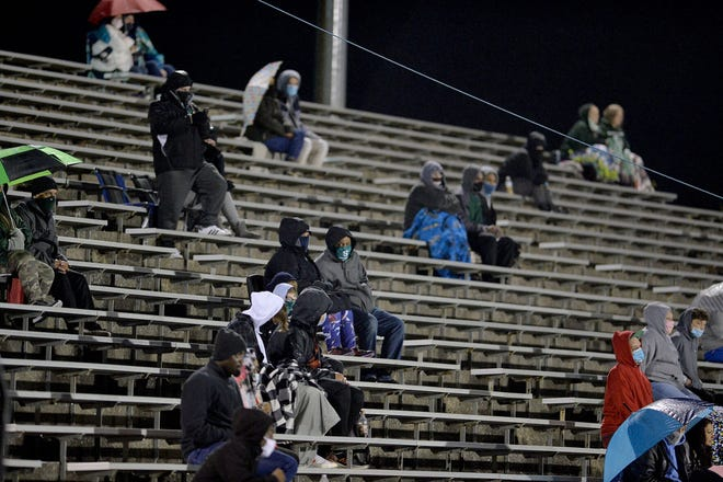 Fans at School Stadium watch the season-opening football game between North Hagerstown and South Hagerstown on Oct. 30, 2020.