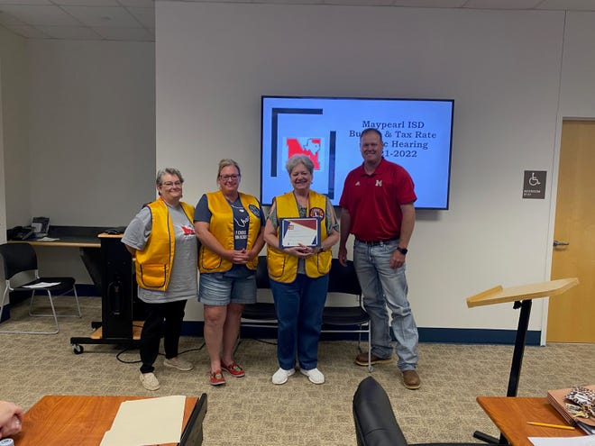 The Maypearl Lions Club was recognized by the Maypearl ISD board of trustees for their service in providing free vision screening and eyeglasses to Maypearl students over the past years. Present were (left to right) Lions Yola Stubblefield, Nikki Camp, and Adele Mooney. Presenting the award was Maypearl School Board President, Justin Stinson.