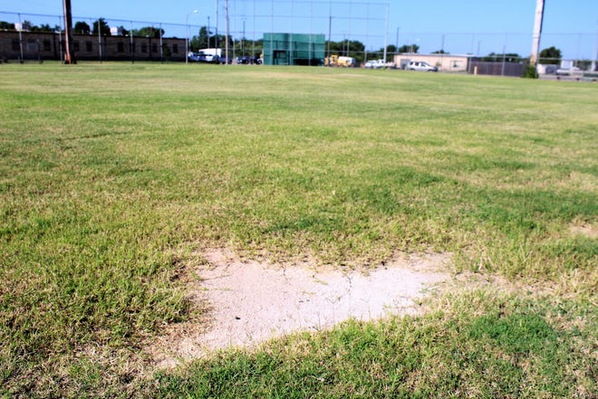 Only a patch of infield remains in the area of second base at Big League Field, which most recently has been used for youth football games at Rose Park.