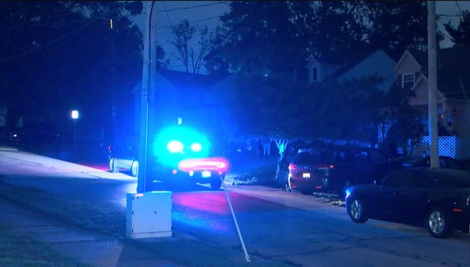 A woman taken to the hospital after Erlanger police said she was stabbed in the chest with a sword Monday evening.