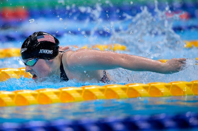 USA's Mikaela Jenkins competes in the Swimming Women's 100m Butterfly - S10 Final during the Tokyo 2020 Paralympic Games in Tokyo, Tuesday, Aug. 31, 2021.
