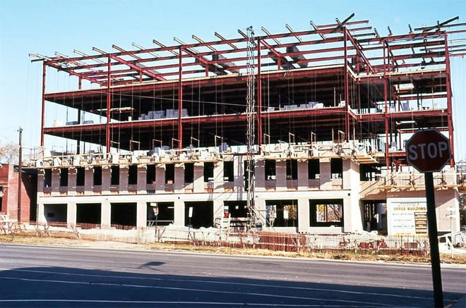The Fort Stephenson Building under construction in 1961 in Fremont.