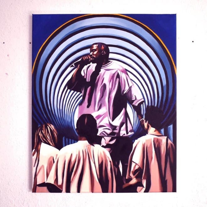 Wisconsin artist Maha Sattva created this painting of Kanye West.