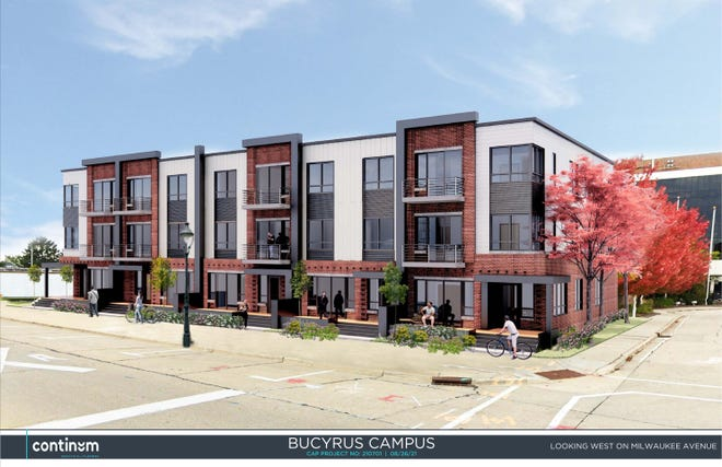 A proposal from Scott Crawford, Inc. for South Milwaukee's Bucyrus campus includes 167 apartments at 1100 Milwaukee Ave. This rendering is looking west on Milwaukee Avenue.
