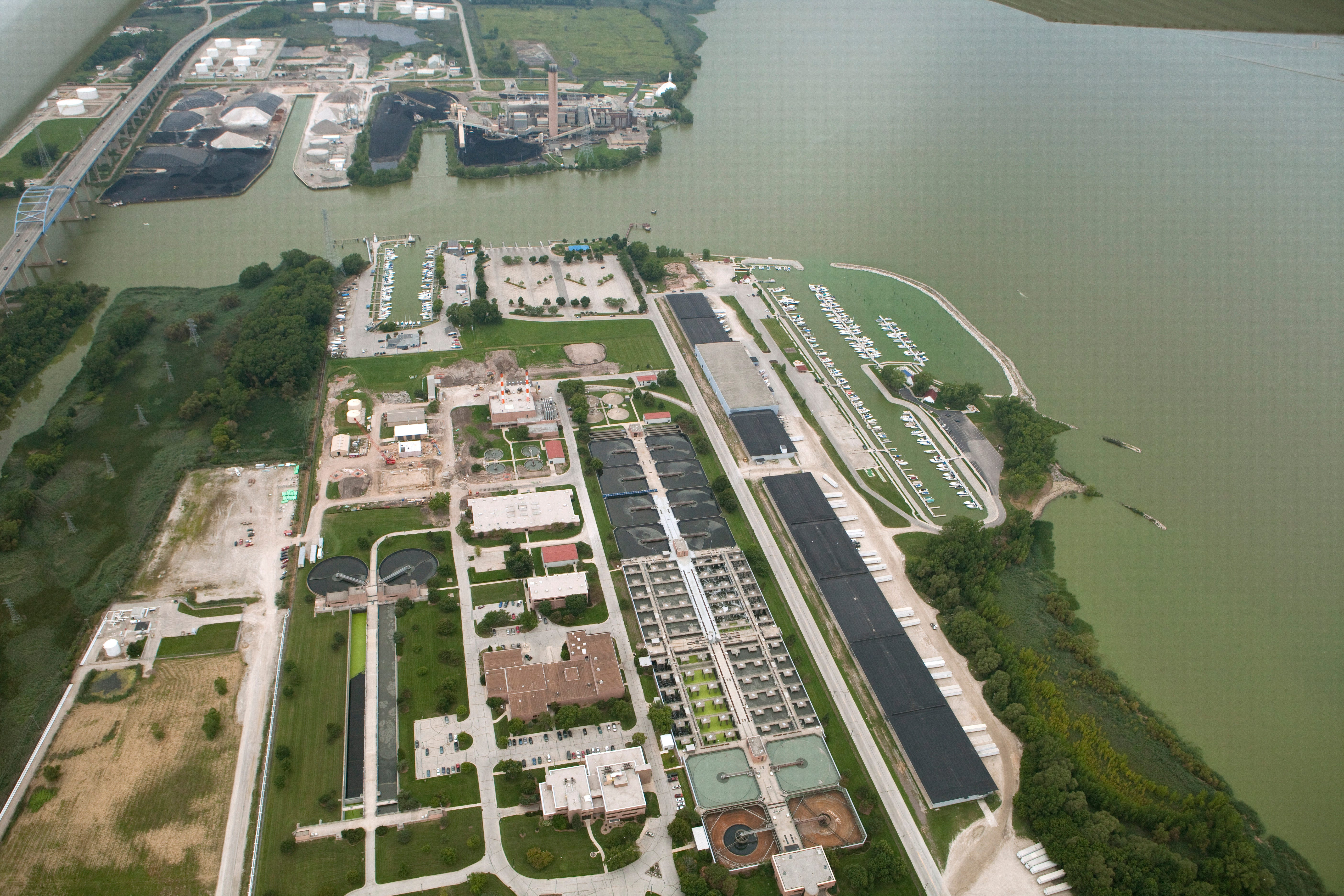 The Green Bay Metropolitan Sewerage District's sewage treatment plant is shown Thursday, August 28, 2014 on the east shore of the Fox River mouth in Green Bay, Wis.