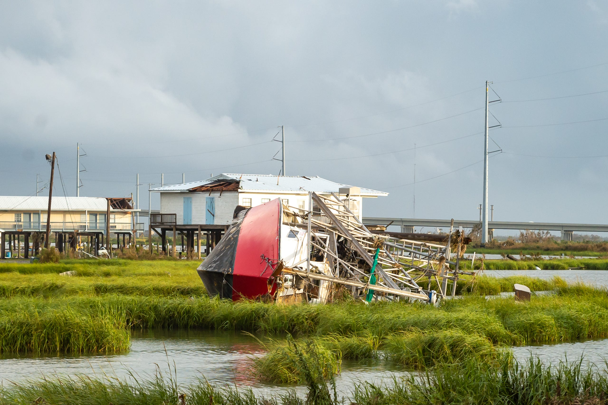 Hurricane Ida leaves destruction behind near Grand Isle, LA. Monday, Aug. 30, 2021.
