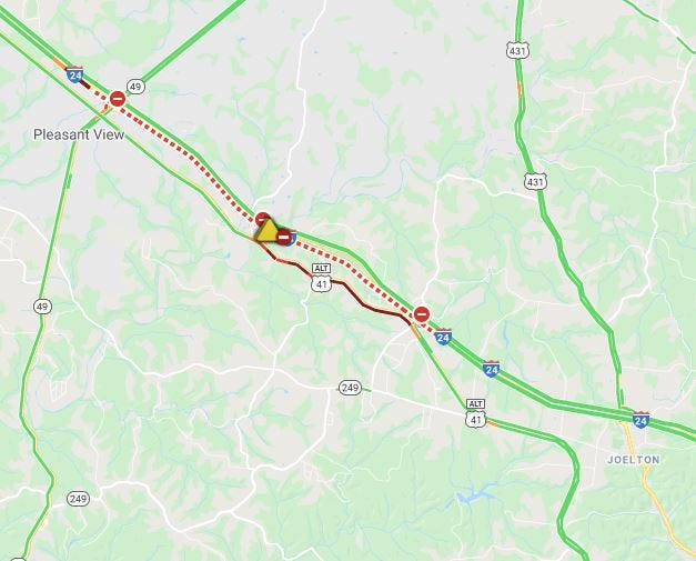 I-24 eastbound is closed after a tractor-trailer overturned, TDOT reports.