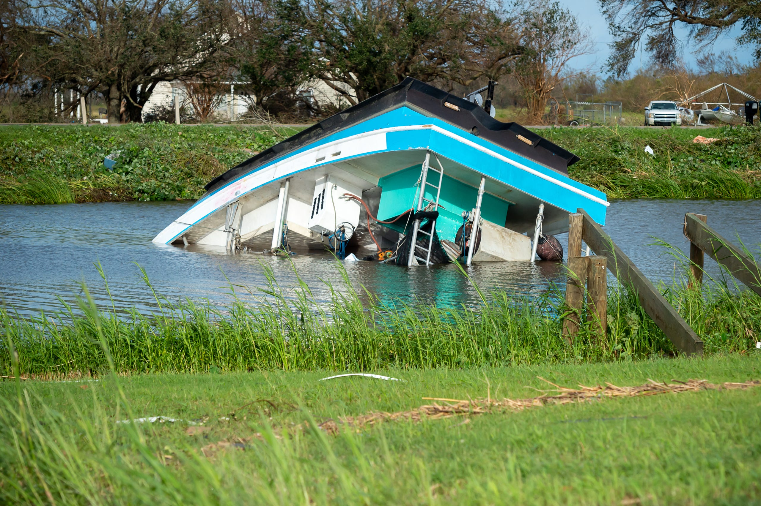 Hurricane Ida leaves destruction behind near Golden Meadow, LA. Monday, Aug. 30, 2021.