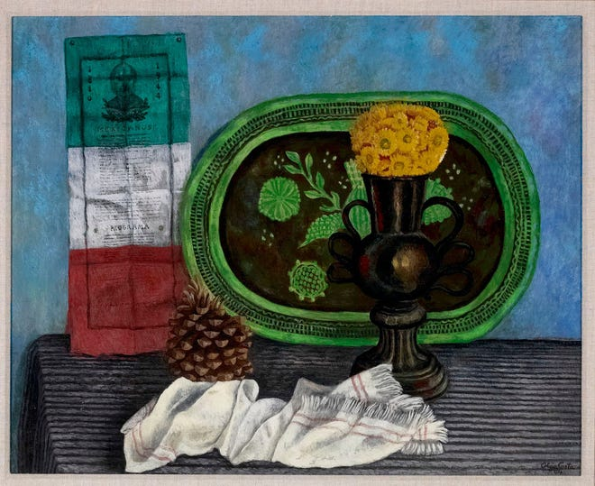 """""""Naturaleza muerta con objetos mexicanos (Still Life with Mexican Objects),"""" 1944. Olga Costa (German- born Mexican- American, 1913-1994). Oil on canvas, 24 by 29 inches. Artis—Naples, The Baker Museum. Gift of Harry Pollak  © 2020 Artists Rights Society (ARS), New York/SOMAAP, Mexico City"""