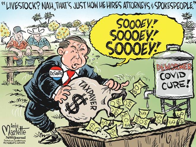 Marlette cartoon: DeSantis fills his trough with taxpayer cash