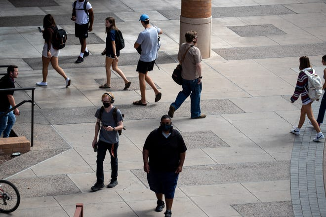 Students on campus, August 31, 2021, at ASU, Tempe, Arizona.