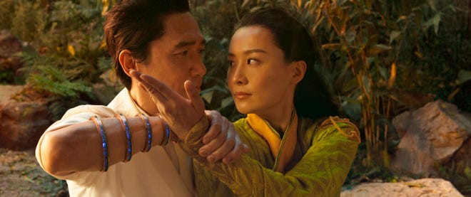 """Tony Leung, left, and Fala Chen star in """"Shang-Chi and the Legend of the Ten Rings."""" The movie opens Friday at Regal West Manchester, Queensgate Movies 13 and Hanover Movies 16."""