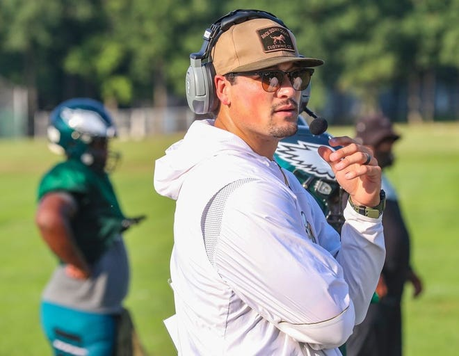 Former NFL quarterback Christian Hackenberg during football practice at Winslow Township Middle School on Wednesday, August 25, 2021 in Atco, N.J. Hackenberg, the New York Jets second round draft pick in 2016, is now a volunteer assistant coach at Winslow High School in Camden County.