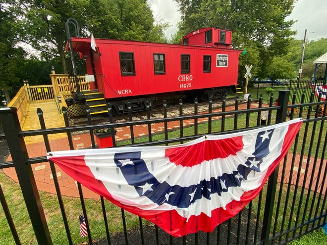 The 1907 CB&Q Way Car caboose's new location in Maplewood Park was dedicated Sunday, Aug. 29, 2021.