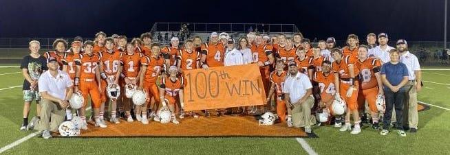 Petrolia coach Byron West celebrated his 100th win as a Texas high school football head coach Friday, Aug. 27, 2021, when the Pirates defeated Tioga, 28-21.