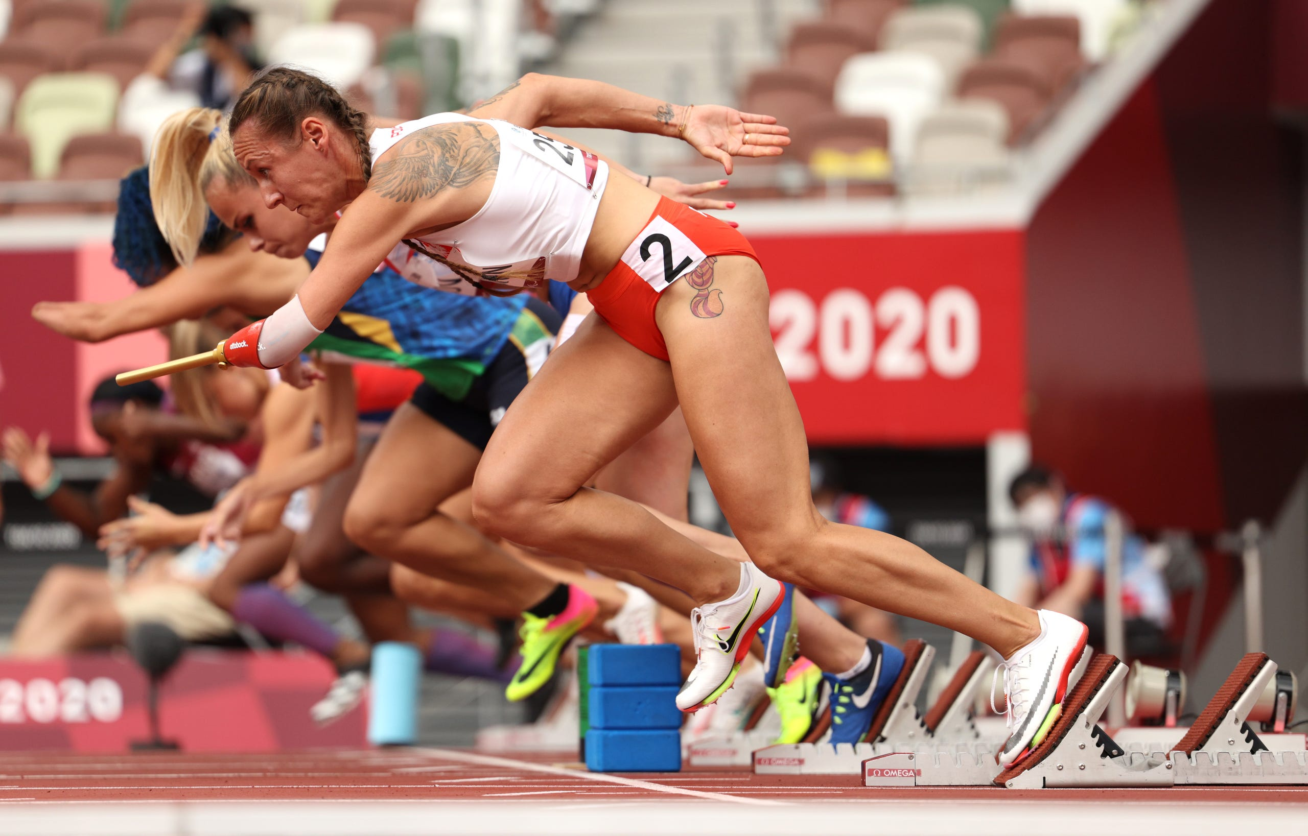 Aug. 31, 2021: Alicja Jeromin of Team Poland starts  during Heat 2 of the women's 100-meter dash.