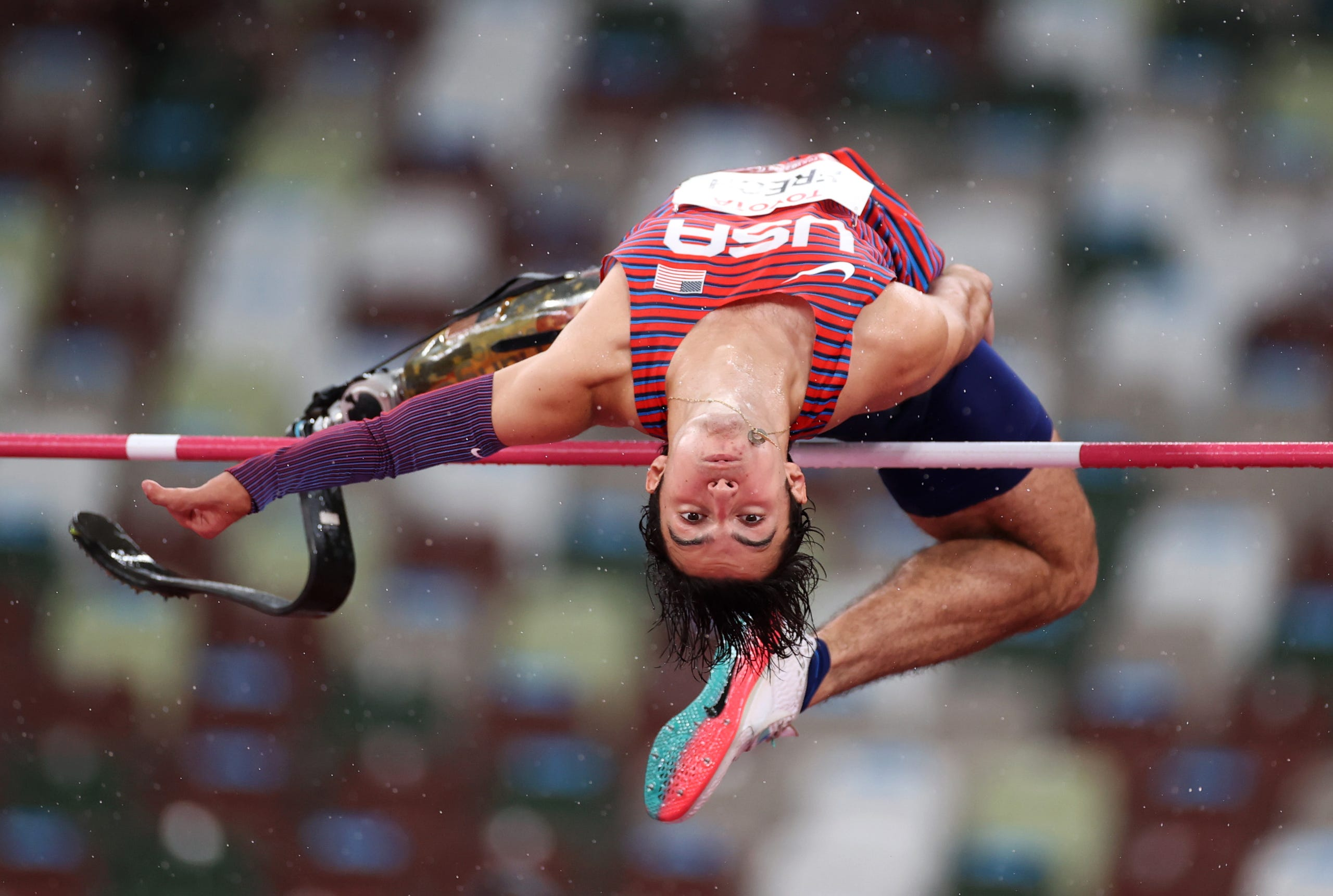 August 31, 2021: Ezra Frech of Team United States competes in the Men's High Jump T42 on day 7 of the Tokyo 2020 Paralympic Games at Olympic Stadium in Tokyo, Japan.
