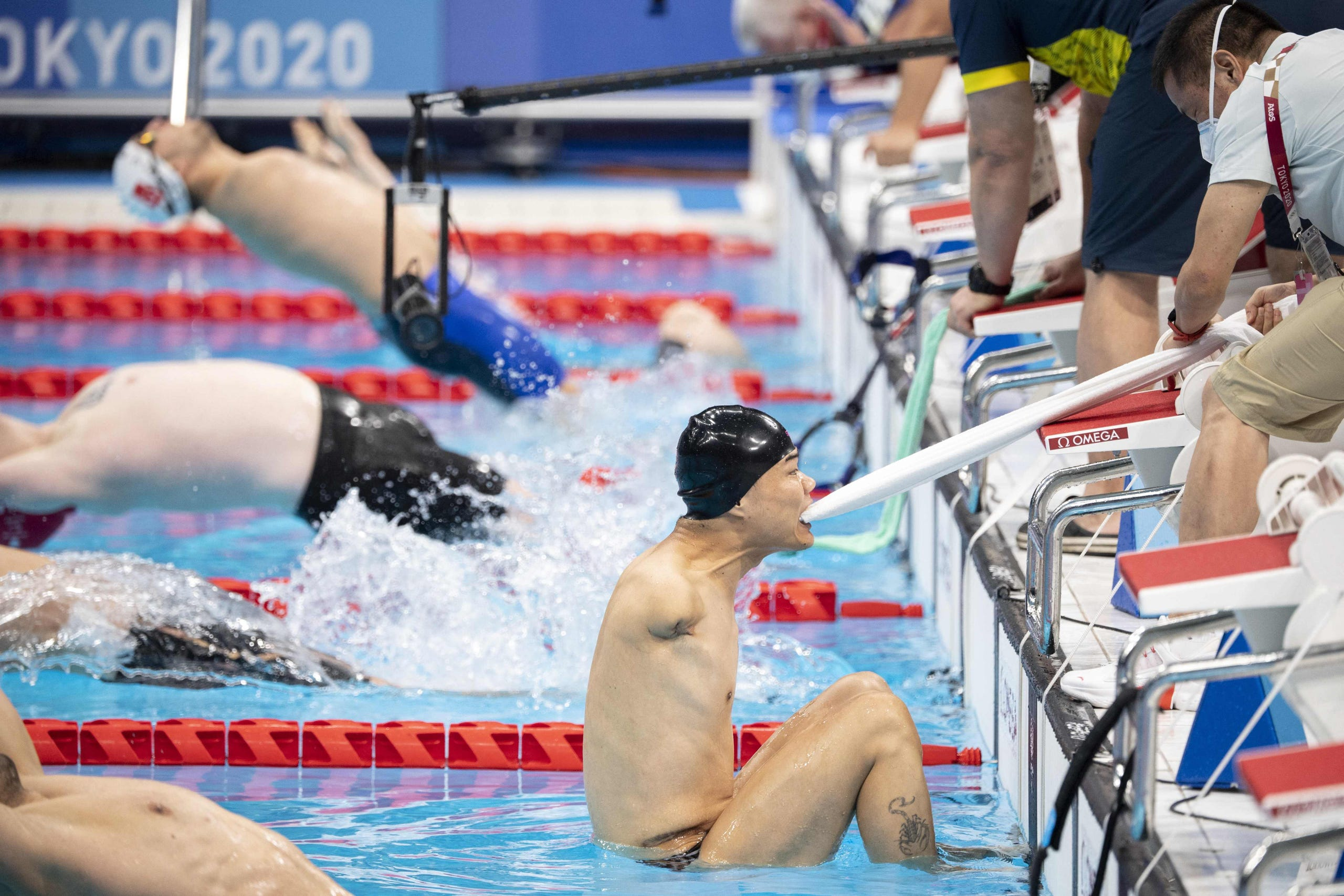 August 30, 2021: China's Tao Zheng competes in the men's 50m backstroke S5 swimming heat at the Tokyo 2020 Paralympic Games in the Tokyo Aquatics Centre in Tokyo.