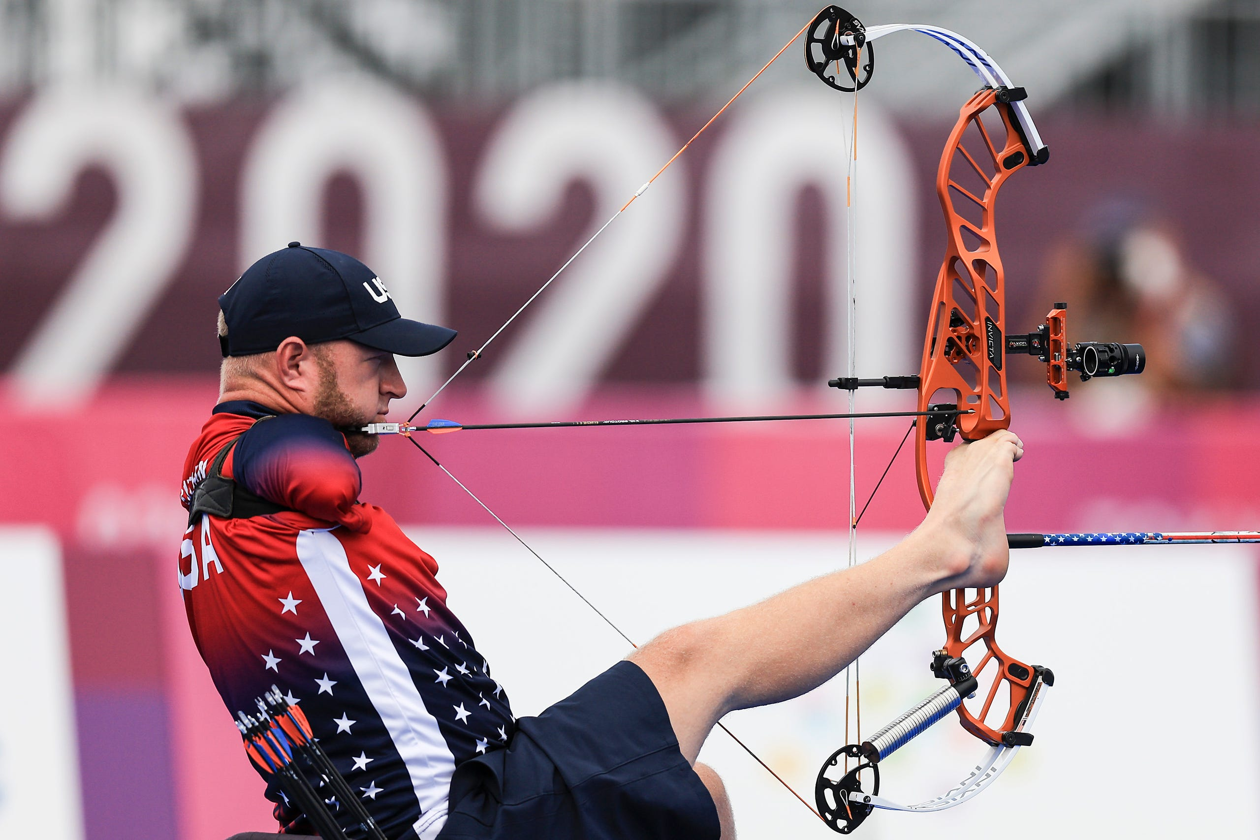 Aug. 31, 2021: Matt Stutzman of Team USA competes in his match against Marcel Pavlik of Team Slovakia during the Men's Archery Individual Compound - Open 1/8 Elimination match.