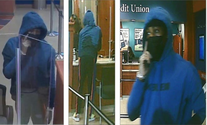 Surveillance images from the Randolph Brooks Federal Credit Union at 101 University Blvd. in Round Rock show a man wearing a blue long-sleeved hoodie with black lettering on the front, dark pants with a red stripe down the sides, and white and red shoes with yellow laces, according to police.