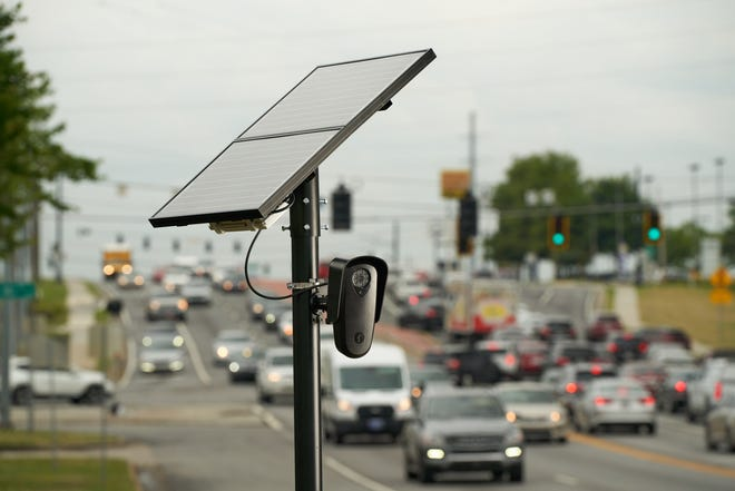 This image of a Flock Systems Automated License Plate Reader camera shows one possible example of the system's installation. Six cameras have been installed in Macedonia, and two more in Northfield Village.