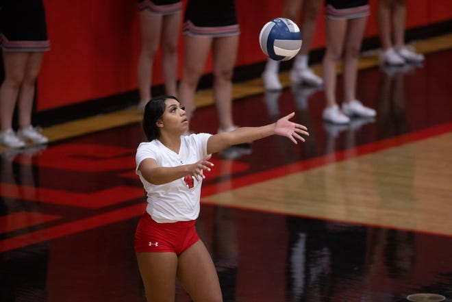 Tascosa's Dominique Davis (4) serves during a nondistrict game Tuesday, Aug. 31, 2021, Frenship at Tascosa High School in Amarillo. Trevor Fleeman/For Amarillo Globe-news.
