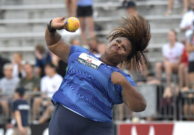 Texas ex Michelle Carter, seen here competing in the 2019 USATF Championships at Drake Stadium in Des Moines, Iowa, was inducted into the Texas Sports Hall of Fame last weekend in Waco. She says her goal is to return to competition in 2022 with a goal of competing at the 2024 Summer Games in Paris.