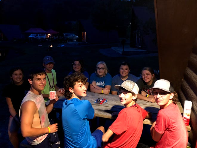 Northwestern FFA officers at an overnight retreat at Mohican Adventures Campground.