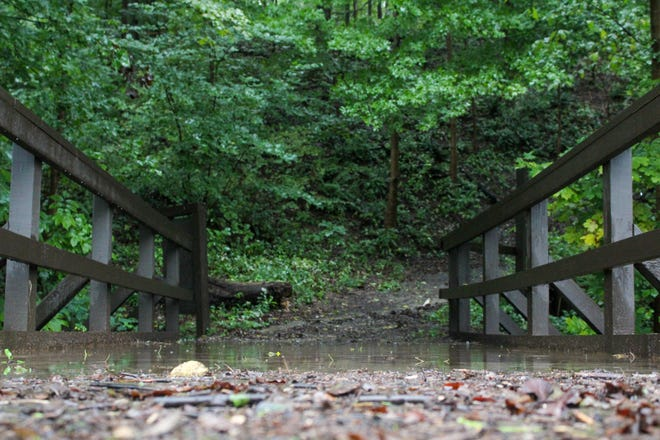 Debris left Wednesday from flooding in Hopewell Township.