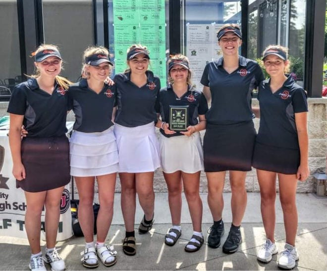 The Cheboygan varsity girls golf team earned second in the Green Division at the Traverse City West Invitational on Tuesday. From left, members of the Cheboygan team include Ella Kosanke, Katie Maybank, Jenna Webber, Sydney Jewell, Mabel Styburski and Emily Clark.