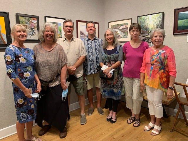 Artists Lana Grauer, Linda Ludwig, Kevin Feary, Steve BonDurant, Victoria Brzustowicz, Lanna Pejovic, and Fran Bliek at the Arts Center of Yates County's Juried Show.