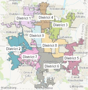 The map that the city has proposed to divide up city council districts